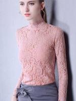 เสื้อลูกไม้แฟชั่น เสื้อลายลูกไม้สวยๆ สีชมพู แขนยาว เข้ารูปสวย ใส่ออกงาน