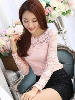 เสื้อลูกไม้สวยๆ แฟชั่นเกาหลี แขนยาว สีชมพู เสื้อลายลูกไม้ลวดลายดอกไม้