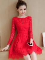 ชุดเดรสลูกไม้สีแดง แขนยาว ชุดผ้าลูกไม้สั้นสวยๆ น่ารักๆ แฟชั่นเกาหลี