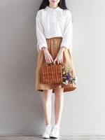 เสื้อเชิ๊ตลูกไม้น่ารัก แฟชั่นเกาหลีสวยๆ สีขาว แขนยาว เสื้อลายลูกไม้ใส่สบายๆ