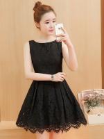 ชุดเดรสลูกไม้สีดำ แขนกุด ชุดผ้าลูกไม้สั้นสวยๆ น่ารักๆ แฟชั่นเกาหลี