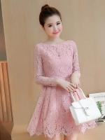 ชุดเดรสลูกไม้สีชมพูอมม่วงนิดๆ แขนยาว ชุดผ้าลูกไม้สั้นสวยๆ น่ารักๆ แฟชั่นเกาหลี