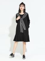 ชุดเดรสสีดำ ชุดเดรสแฟชั่น ชุดเดรสสั้นสวยๆ น่ารักๆ สไตล์เกาหลี สกรีนลาย