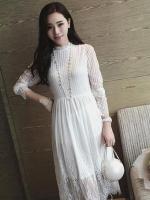 ชุดเดรสลูกไม้ออกงานสวยๆ แฟชั่นเกาหลี สีขาว แขนยาว ชุดผ้าลายลูกไม้เลิศๆ