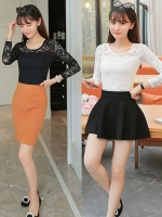 เสื้อลูกไม้แฟชั่นเกาหลี เสื้อลายลูกไม้สวยๆ สีขาว สีดำ แขนยาว เข้ารูปสวย ใส่ออกงาน