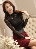 เสื้อลูกไม้สวยๆ แฟชั่นเกาหลี สีดำ แขนยาว คอฉลุ เสื้อลายลูกไม้ใส่ออกงานหรูๆ