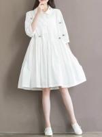ชุดเดรสเกาหลี สีขาว ชุดเดรสน่ารัก ชุดเดรสแฟชั่นสวยๆ คอปก มีสายรัดเอว
