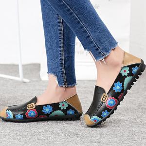 SK12 รองเท้าหนังนิ่ม (หนังวัว) ลายดอกไม้ใหญ่ Size 36