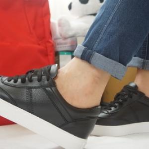 รองเท้าสไตล์เกาหลี ผ้าใบสีดำ Size 36