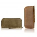 กระเป๋าสตางค์หนังแท้(นูบัค) ทรงยาวซิปรอบ สำหรับเก็บธบบัตร และการ์ด เหมาะสำหรับผู้ชายและหญิง