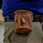 กระเป๋าร้อยเข็มขัดหนังแท้ (นูบัค) + สายสะพายข้าง(ถอดได้) สำหรับผู้ชายที่ชอบลุ่ยๆ