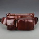 กระเป๋าคาดอกคาดเอวหนังแท้ สีน้ำตาลแดง