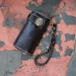 กระเป๋าสตางค์ผู้ชาย กระเป๋าใส่บัตร ผลิตจากหนังวัวแท้ พร้อมสายคล้องกระเป๋า รูปแบบสไตล์ญี่ปุ่น