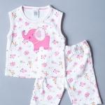 เสื้อแขนกุด กางเกงสามส่วน ลายช้างสีชมพู ขนาด 3-6 เดือน