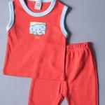 เสื้อแขนกุด กางเกงสามส่วน สีแดง ลายช้าง