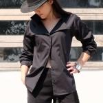 เสื้อเชิ้ตปกเชิ้ต แขนยาว สีดำ Size S
