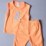 เสื้อแขนกุด กางเกงสามส่วน สีส้ม ลายหมี