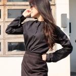 เสื้อเชิ้ตคอจีน แขนยาว สีดำ Size S