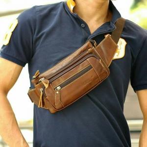 กระเป๋าคาดอก กระเป๋าคาดเอว เป็นกระเป๋าหนังแท้ เหมาะสำหรับผู้ชายพกพาสะดวก