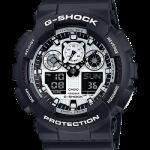 นาฬิกา CASIO G-SHOCK STANDARD ANALOG-DIGITAL รุ่น GA-100BW-1A SERIES GA-100 Three-Eye Dial ของแท้ รับประกัน 1 ปี