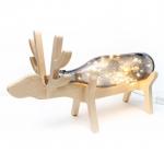 โคมไฟ Fairy Light ในขวด พร้อมฐานไม้รูปกวาง ขวดใสสีเทา