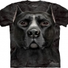 Big Face Black Pitbull Dog T-Shirts