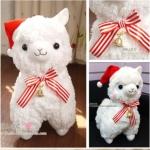 ตุ๊กตา อัลปาก้า Alpaca สีขาว หมวกแดง โบว์แดง ไซส์ใหญ่ 18นิ้ว