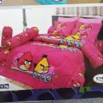 ชุดผ้าปูที่นอน ลาย Angry Birds #02 สีชมพู 6 ฟุต [5ชิ้น]