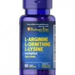Puritan's Pride Tri-Amino Acid (L-Arginine A· L-Ornithine A· L-Lysine A) / 60 Tablets