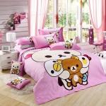 ชุดผ้าปูที่นอน Korilakkuma และ Rilakkuma 6 ฟุต สีชมพู