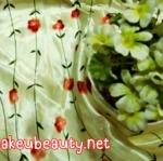 ผ้าพันคอ ผ้าคาดผมเนื้อไหมญี่ปุ่น : ลายวินเทรดสีครีม