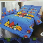 ชุดผ้าปูที่นอน ลาย Angry Birds #01 สีฟ้า 6 ฟุต [5ชิ้น]