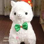 ตุ๊กตา อัลปาก้า Alpaca สีขาว หมวกแดง โบว์เขียว ไซส์ใหญ่ 18นิ้ว