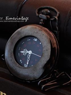 นาฬิกาพก สีดำลายด่าง ระบบถ่านควอทซ์ ฝาหลังเรียบ (พร้อมส่ง)