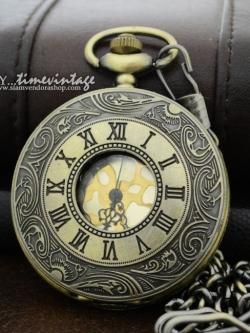 นาฬิกาพก วินเทจ แบบสร้อยคอ ดีไซด์ โรมันโบราณ หน้าปัดทอง Size-L (พร้อมส่ง)