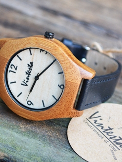 นาฬิกาข้อมือไม้ไผ่ Eco สายหนังสีดำ - Classic Black (พร้อมส่ง)