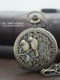 นาฬิกาพก ลายไทยคลาสสิค - คู่สกุณา ระบบถ่านควอทซ์