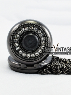 ***พร้อมส่ง***นาฬิกาสร้อยคอสีดำ ลาย Black Crystal Pearl