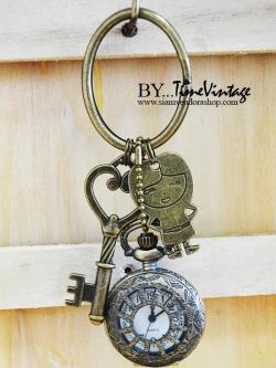 พวงกุญแจนาฬิกาน่ารักลายหนูดีสไตล์วินเทจ