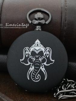 นาฬิกาลายไทยพญาช้าง นาฬิกาของขวัญตัวเรือนที่ดำด้าน ระบบถ่านควอทซ์ (สั่งทำ)