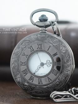 นาฬิกาพกสีดำถ่านควอทซ์ลาย Simple Roman Design