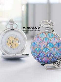 นาฬิกาพกระบบกลไกไขลาน ดีไซต์ Phoenix Princess ล็อคเก็ตหน้าปัดกลไก