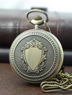 นาฬิกาฝาทึบล๊อคเก็ต วินเทจสีทองเหลือง สไตล์ยุโรป ระบบถ่านควอทซ์ญี่ปุ่น