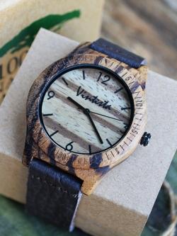 นาฬิกาข้อมือไม้ Zebra แท้ สายหนังนิ่มcrazy horse ดีไซต์ Brown Zebra