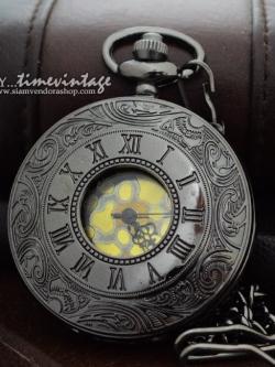 นาฬิกาพกลายโรมันเถาวัลย์ สีดำ Pewter ถ่านควอทซ์ หน้าปัดทอง (พร้อมส่ง)