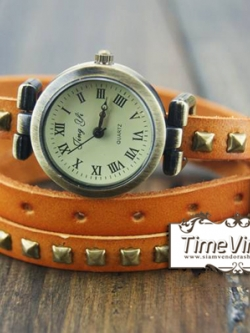 นาฬิกาหนัง พันข้อมือ 3 รอบ-สีส้ม (ฟรีค่าจัดส่ง EMS)