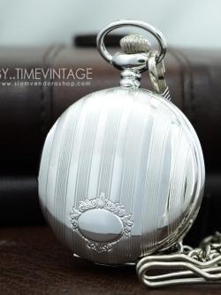 นาฬิกาพก ฝาทึบล็อคเก็ตสีเงินลาย VINTAGE CLASSIC FLOWER FLAME แบบสายหนีบ