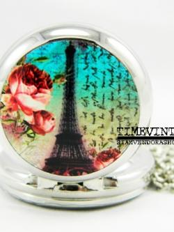 **พร้อมส่ง**นาฬิกาพกแบบสร้อยคล้องคอ Eiffel Tower-A