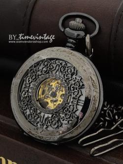 นาฬิกาพกไขลานฝาฉลุ สีดำตะกั่วด่างลายฉลุลูกไม้