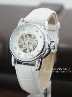 นาฬิกาข้อมือกลไกผู้หญิง หน้าปัทม์ทองเรือนทองสายสีขาว Reloj Mujer (พร้อมส่ง)